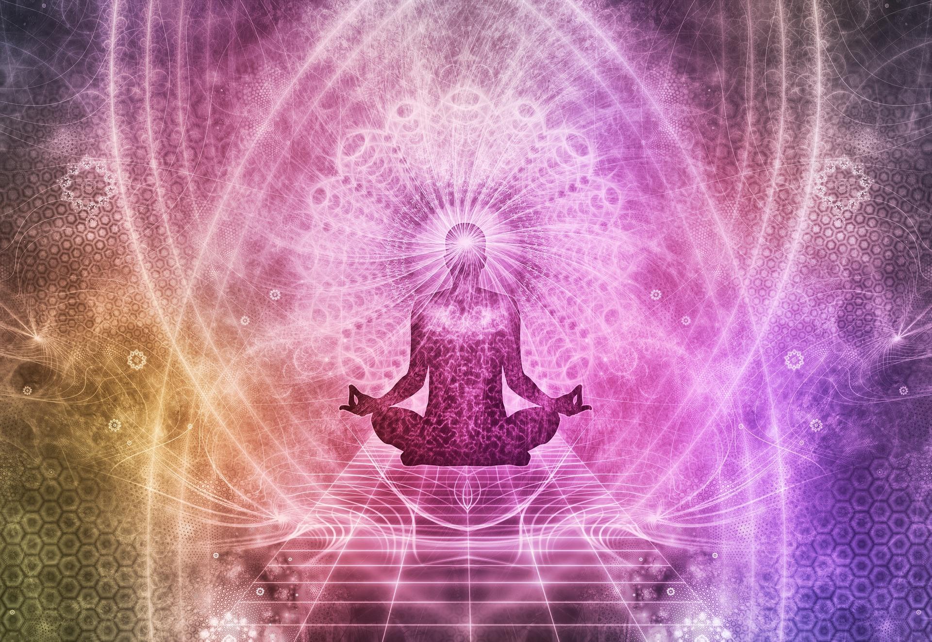 Kundalini Yoga Dangers - Man meditating and having kundalini awakening experience