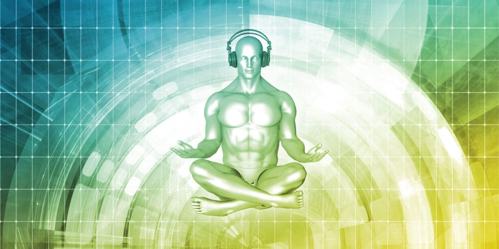 Zen Man Listening To Binaural beats Headphone